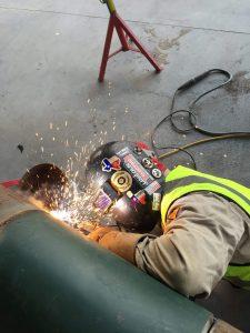 Joshua Moya welding