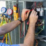 houston hvac technician servicing ac