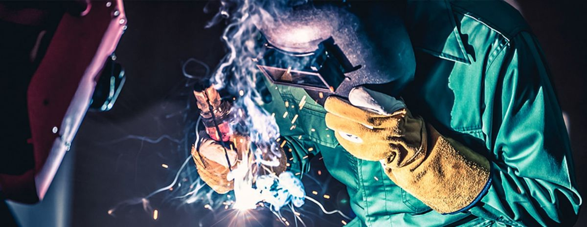 two welders showing arc welding