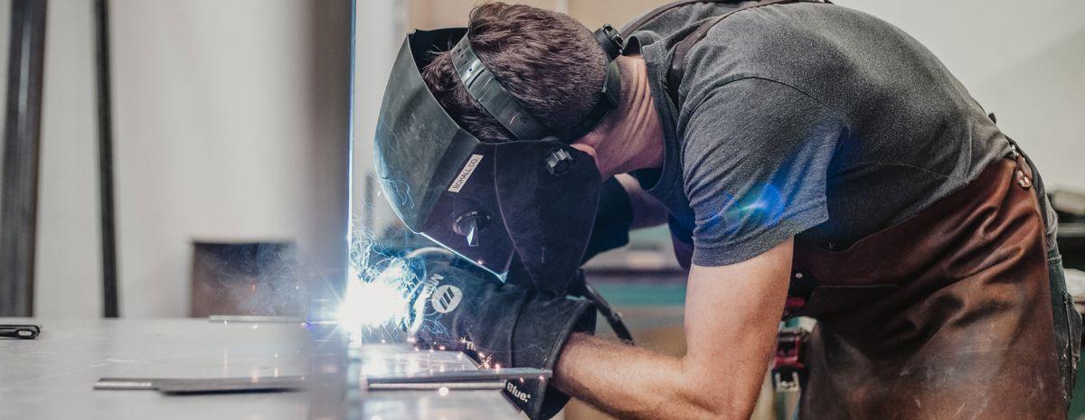 welder taking a welding test
