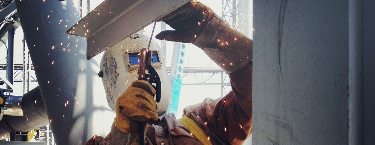 welder using eye protection