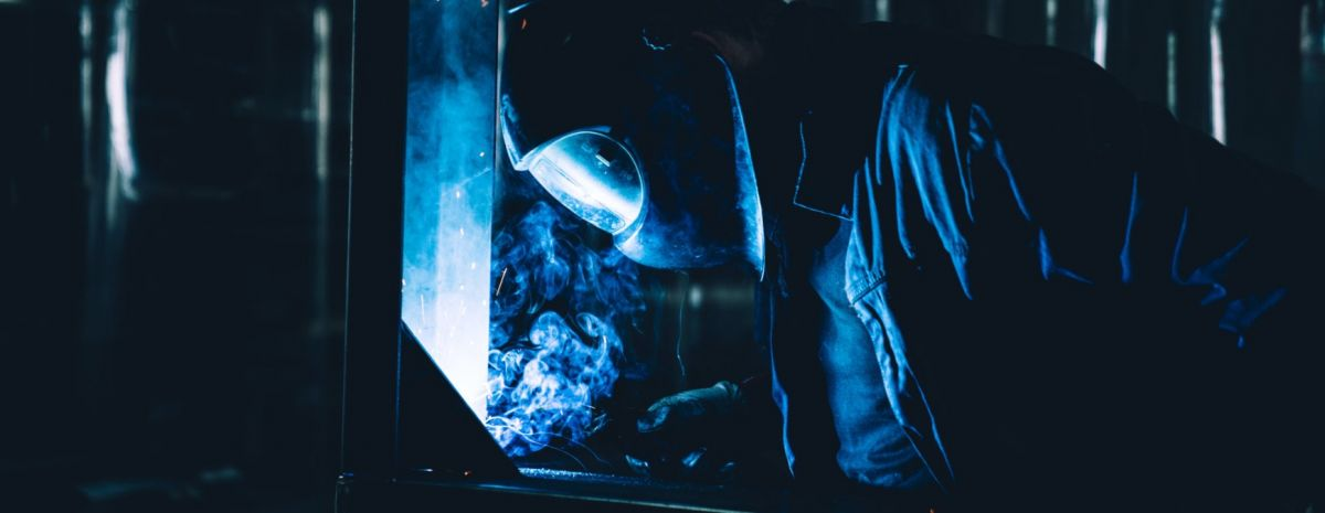 welder with welding mask