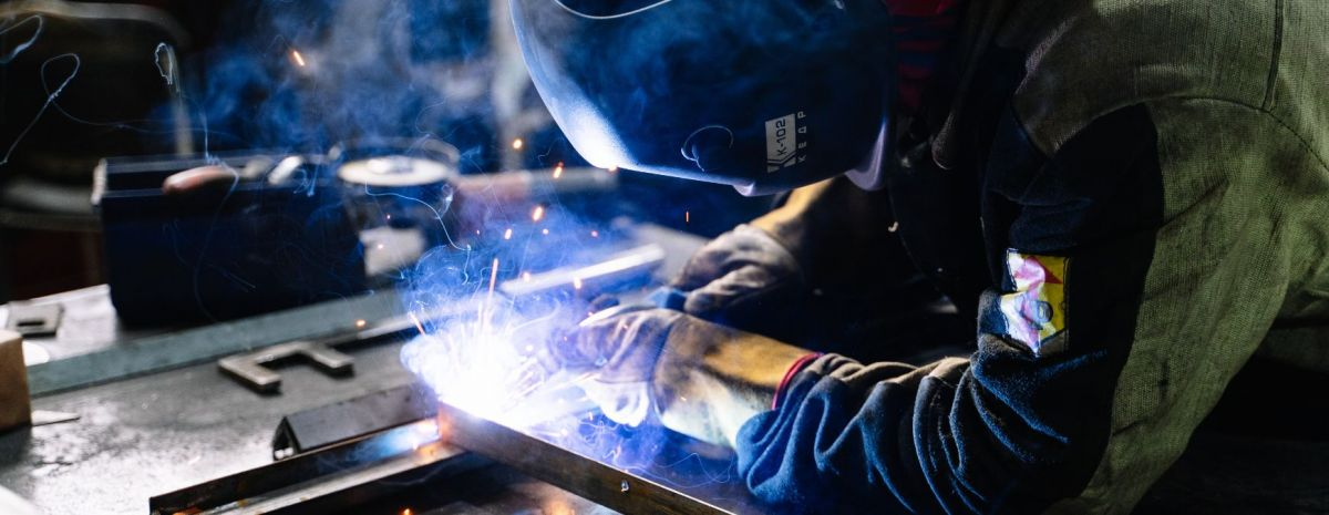 welding inside a workshop